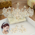 Дамы Европейский высокого класса невесты корону головной убор колонка кристалл свадебные ювелирные украшения короны