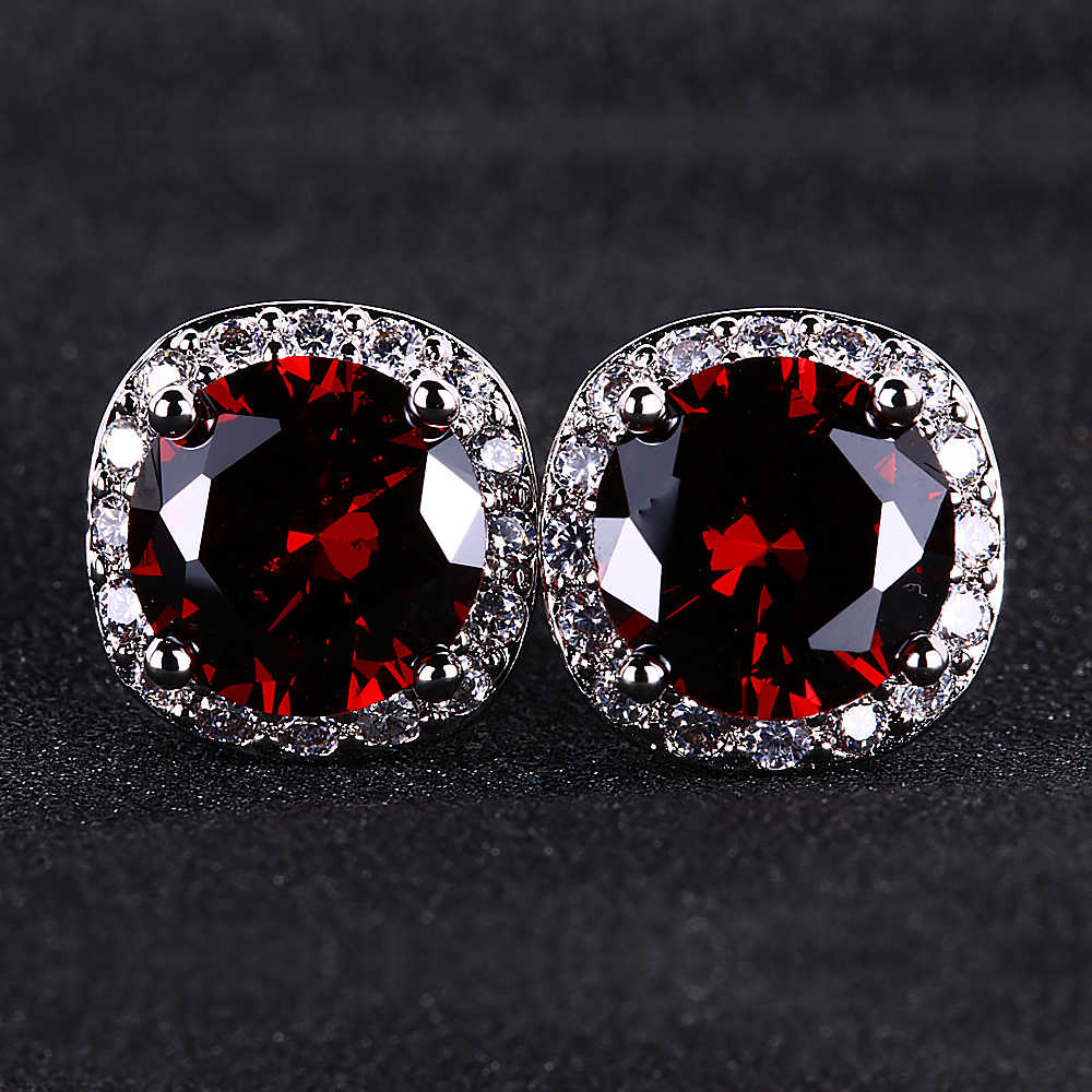 Hot-selling standard rubies 925 sterling silver  gemstone  stud earring  Round  Office/career  Party