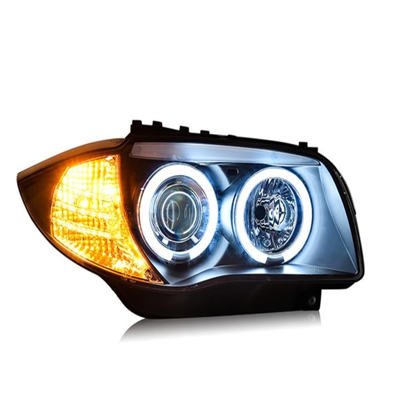 Lampe frontale de voiture pour BMW E87 phare LED pour 120i 130i lampe frontale 2004-2011 avec LED Angel eyes H7 lampe xénon