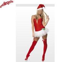 New Cheap Christmas Costumes Female Sexy Santa Velvet Holiday Tutu Dress One Size Santa Claus Costume