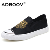 ADBOOV Mens Fabric Loafer Tiger Logo Fashion Breathable Cotton Material Slip On Shoes Spring Summer Canvas