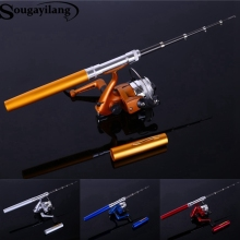 Sougayilang  Mini Telescopic Ice Fishing Rod With Fishing Reel Portable Pocket Aluminum Alloy Pen Rod Pole Fishing Rod Reel Set