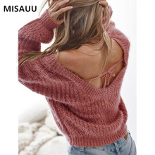 MISAUU Autumn Winter Women Sweaters Pullovers Korean Sexy Backless Long Sleeve Casual Sweater Oversize Knit Jumpers Sweter mujer