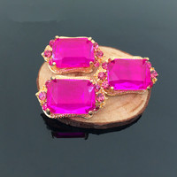 Wholesale 20PCs 17*28MM Gold Alloy Caps Hot Pink Glass Crystal Rhinestone Alloy Button Patch Sticker Craft Fit Girl Hair Jewelry