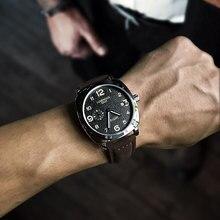 MEGIR ファッションミリタリー革クォーツ腕時計メンズカジュアルビジネス防水発光アナログ腕時計男送料無料 1046