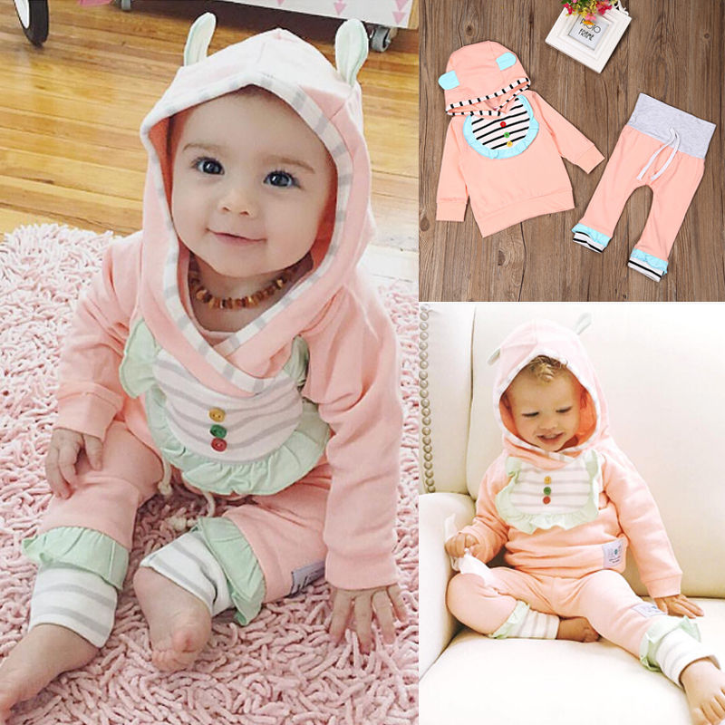 Newborn Infant Baby Girls Hoodies Pants Leggings Girl Cute Clothing Set Autumn Spring Outfits Tracksuit