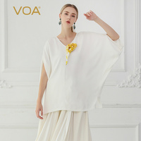 VOA White Silk T Shirt Loose Casual Women Tops Large Size Tee Summer V Neck B772