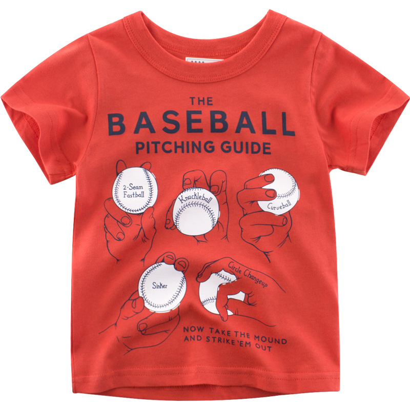 Boys T-Shirts Cute Fun Cartoon Curveball Tees Girls Tops Summer Kids Clothes Children Cotton Tshirt Toddler Short Sleeve T Shirt