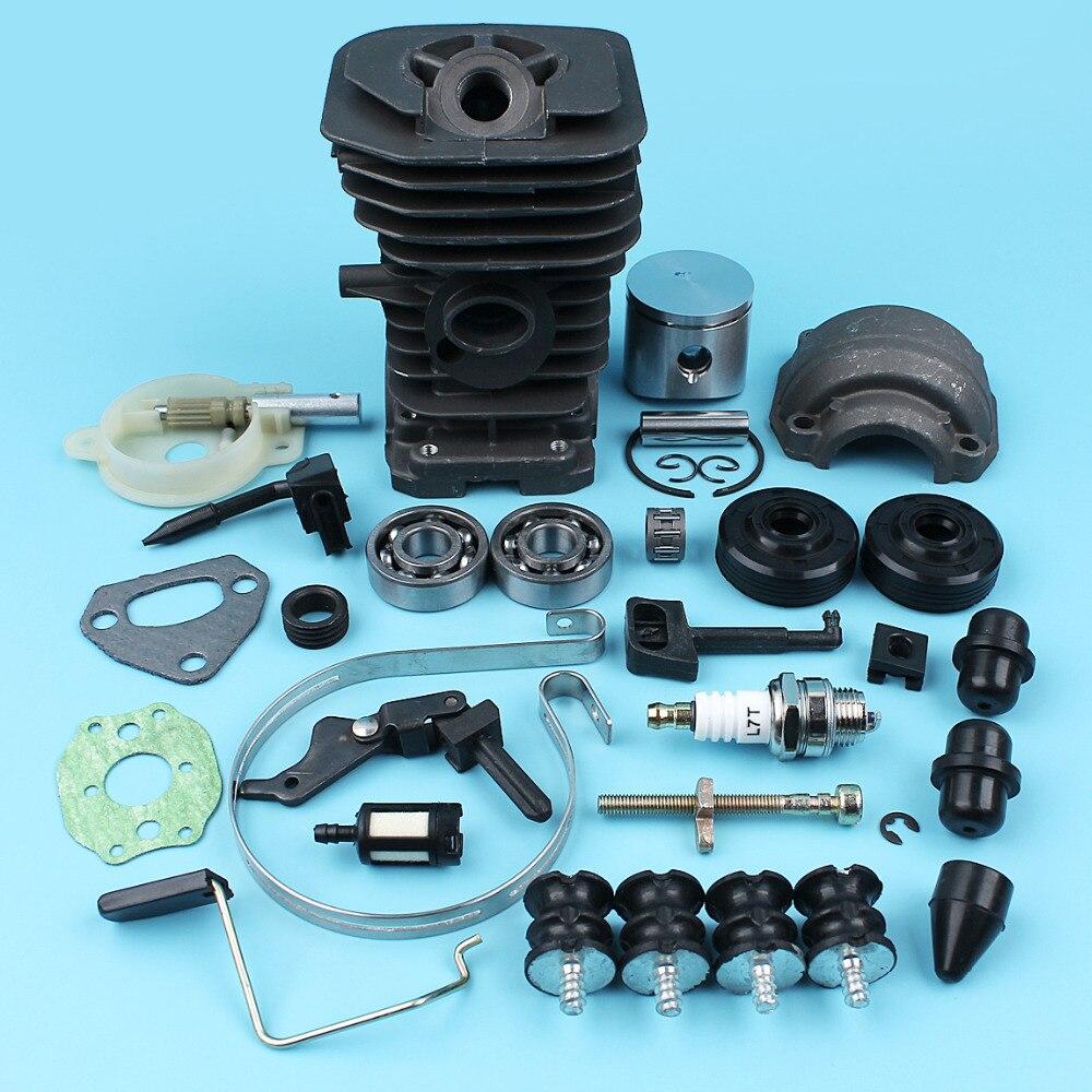 Cylindre Piston Pan pompe à huile AV tampons roulements pour Husqvarna 136 137 141 142 tronçonneuse (38mm) joints d'huile tendeur de bande de chaîne