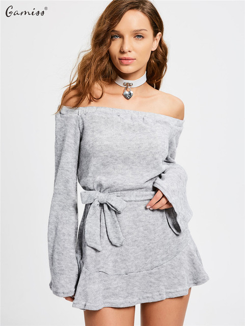 e23b9058eb14 Gamiss Autumn Winter Women Knitted Dresses Off The Shoulder Long Sleeve  Mini Dress With Belt Female Casual Short Vestidos