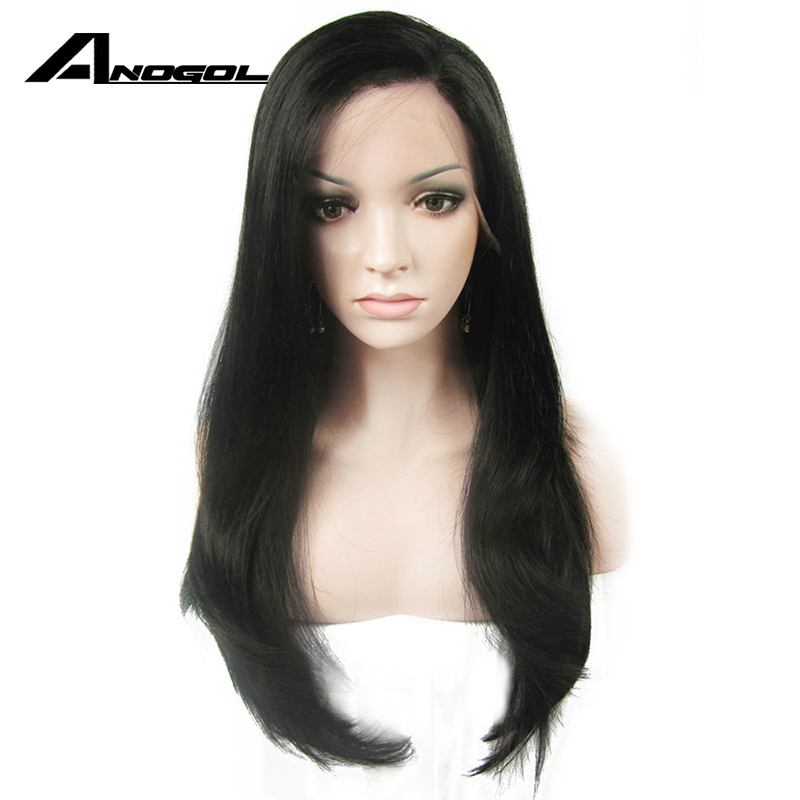 Anogol High Temperature Fiber Brazilian Hair Peruvian 1#2#10# Long Natural Wave Synthetic Lace Front Wig For Black Women
