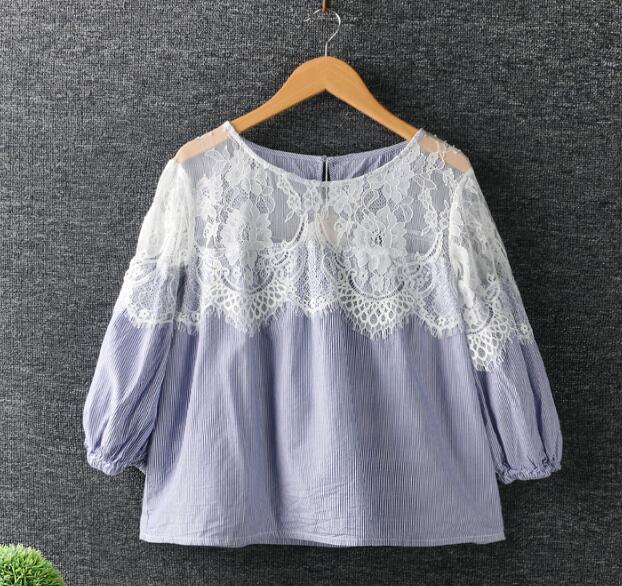 Lace patchwork rayada o-cuello de manga Tres cuartos camisa de algodón superior