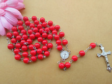 Long Red Glass Rosary Necklace Metal Cross Pendant Religious Jewelry Accessories For Women New