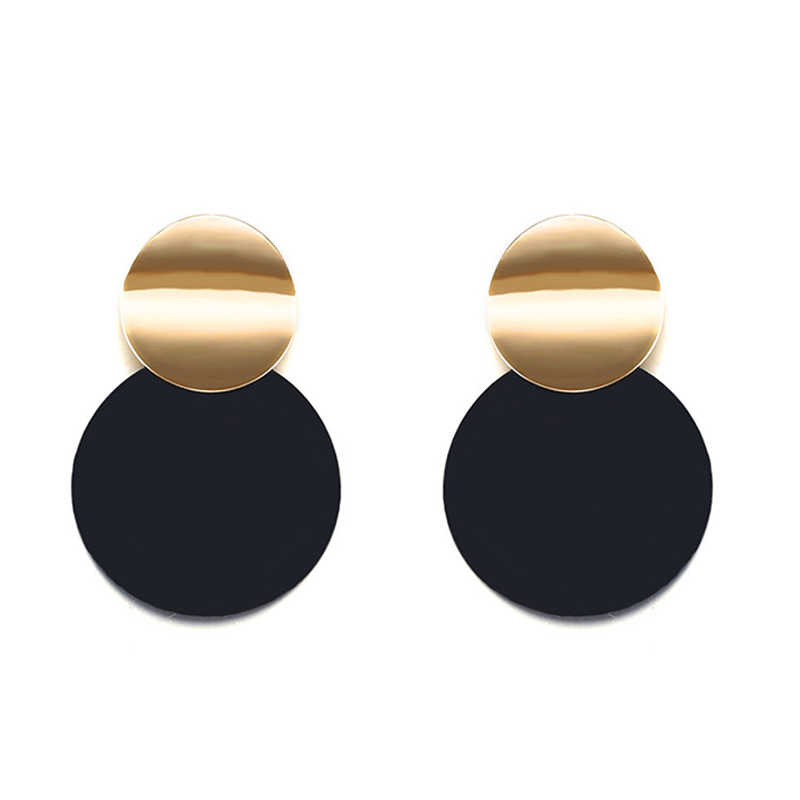 Unique black brooch Earrings fashion gold color metal round statement Earrings for women fashion jewelry Pendant earrings 2018