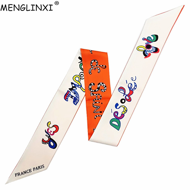 New Letter Print Skinny Women Silk   Scarf   Bag Ribbons Fashion Head   Scarves     Wraps   Brand Female Silk Foulard Belt For Ladies