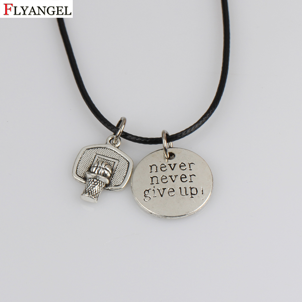 Basketball Hoop Pendant Necklaces Never Never Give Up Pendant Leather Necklace Men Sports Hip Hop Gifts Jewelry