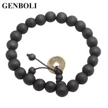 GENBOLI 10MM Fashion Charming Men Women Buddhist Beads Bracelet Wooden Unisex Bracelet Bangle Jewelry All Match Clothes Black(China)