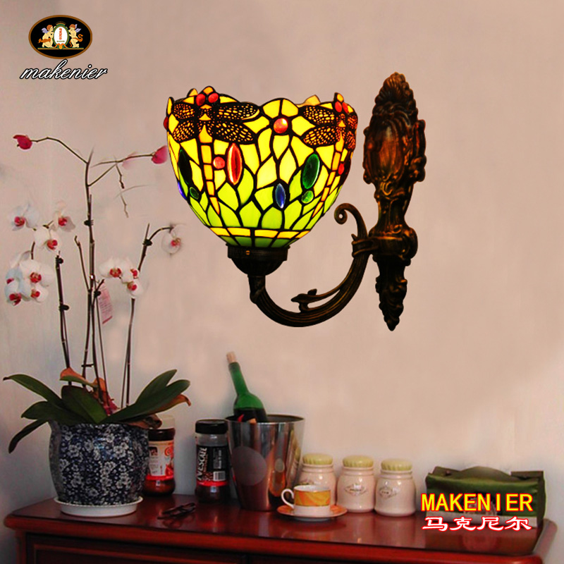 Makenier Vintage Tiffany Style Green Stained Glass Dragonfly Wall Lamp Wall Fixture, 7 Inches Lampshade 16inch antique agate jade dragonfly stained glass lampshade tiffany pendant lamp country style bedside lamp e27 110 240v
