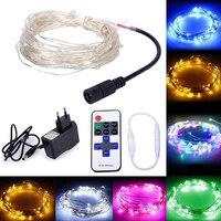 10 M 33ft 100LED Dimmable Tiên Lights Bạc Dây Đồng Chuỗi Dẫn Giáng Sinh Chuỗi Với 12 V Adapter Và Từ Xa điều khiển