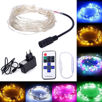 10M 33ft 100LED Dimmable Fairy Lights Silver Copper Wire Led String Christmas String With 12V Adapter