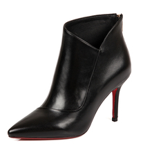 fashion Ankle boots women winter 2016 Black sexy high heels Genuine Leather Thin Heels Riding, Equestrian high quality Zip Solid