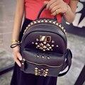 2016 nova bolsa de viagem mochila multifuncional bolsa feminina de couro PU tecido são preto roxo cinza rebites diamante