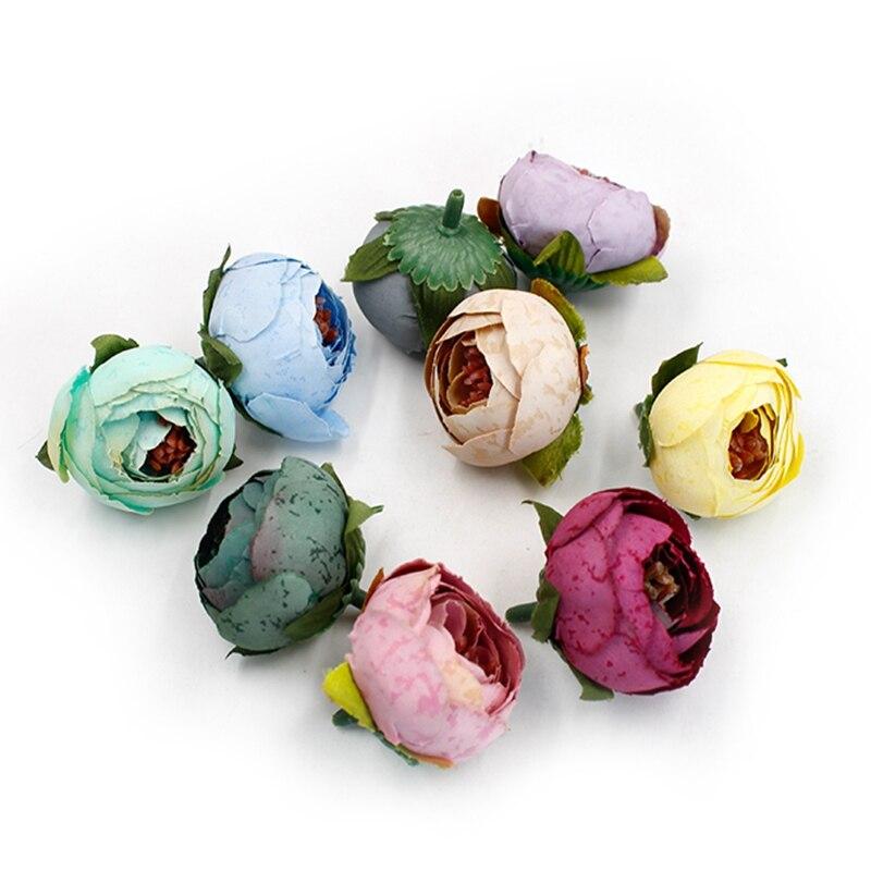 Искусственная чайная роза, 5 шт., 4 см, Шелковый маленький бутон, пион, свадебное украшение для дома, сделай сам, венок, скрапбук, искусственные...