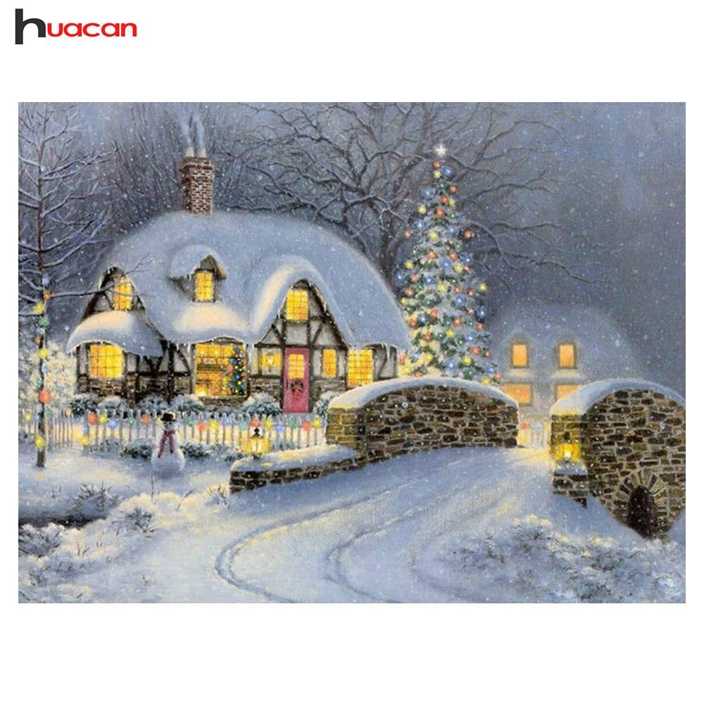 Christmas house painting - Diy Diamond Painting Cross Stitch 5d Diamond Embroidery Winter Scenery Diamond Mosaic Christmas House Home Wall Stickers