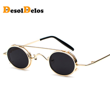Small Round Steampunk Sunglasses Men Women Retro Metal Clip on Steam Punk Sun Glasses for Male Vintage Gothic Goggles