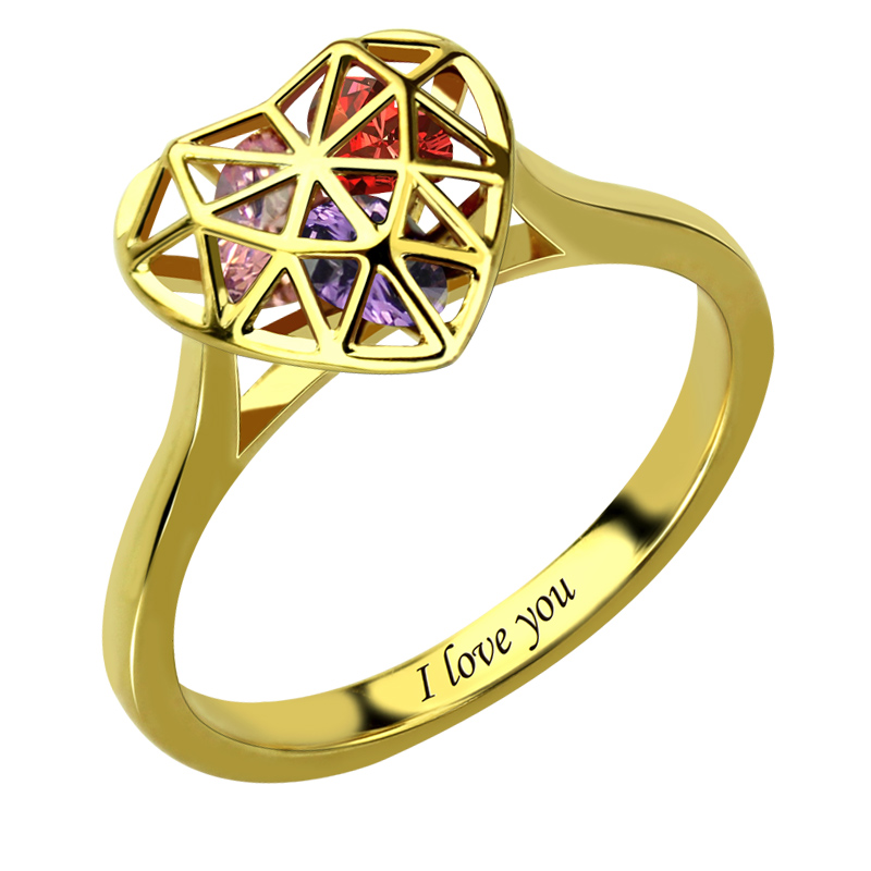 Gold Color Heart Cage Ring With Birthstones Engraved Mother s Ring