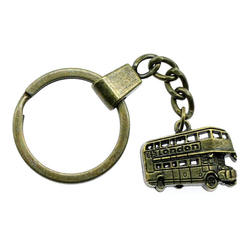 London Bus Keyring London Bus Keychain 25x20mm Antique Bronze Antique Silver London Bus Key Chain Souvenir Gifts For Men