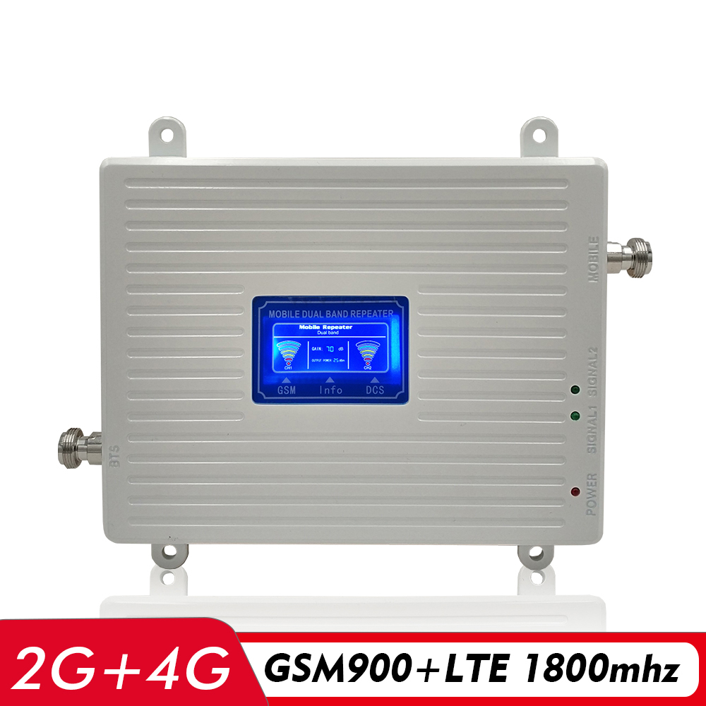 65dB Gain 2G 3G 4G Dual Band Signal Booster GSM 900+DCS LTE 1800 Cell Phone Signal Repeater Cellular Amplifier With LCD Display