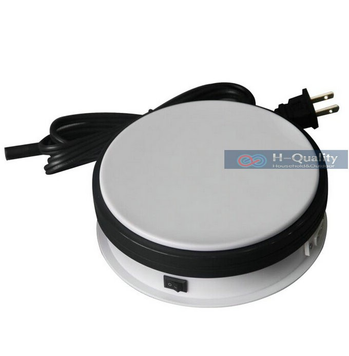 ФОТО 150X60MM Electric Turntable Display Stand Base 8/15/25/50 Secs Per Circle White Or Black Color Electric Rotary Table Disk