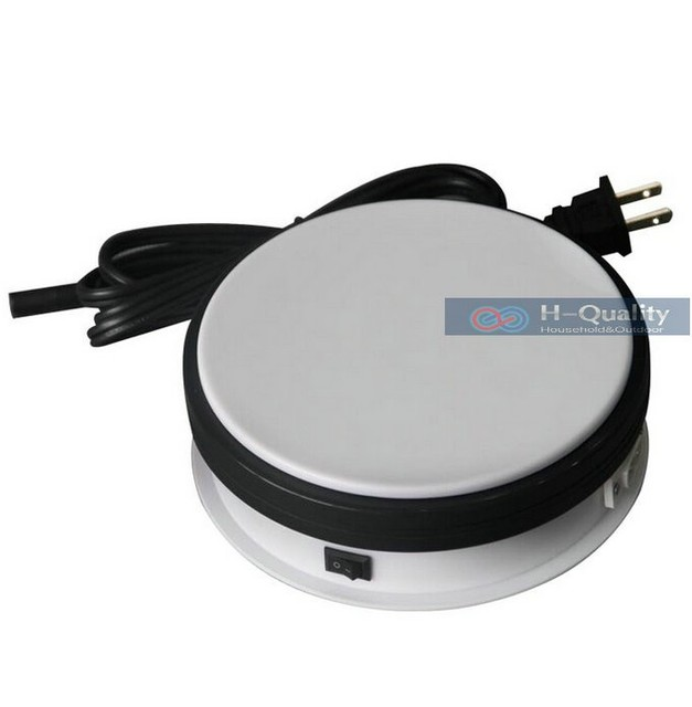 150X60MM Electric Turntable Display Stand Base 8/15/25/50 Secs Per Circle White Or Black Color Electric Rotary Table Disk