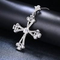 Women's Vintage Cross Pendant Necklace Genuine 925 Sterling Silver Cubic Zirconia Pendants Fine Jewelry for Men New Year Gift