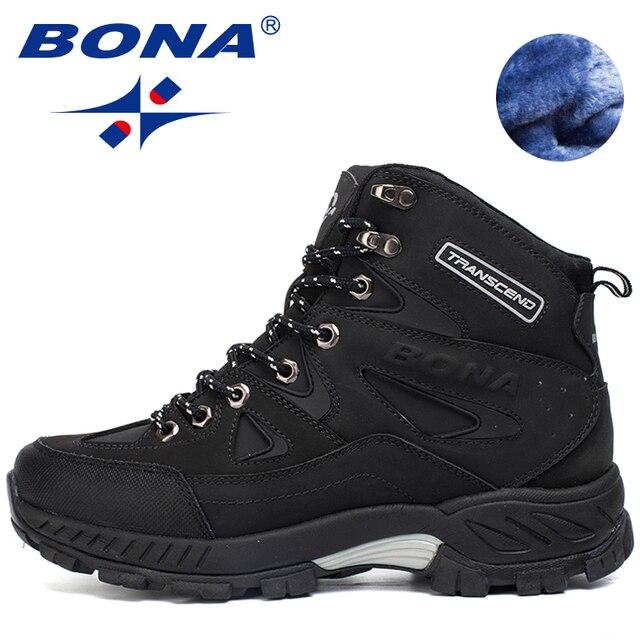 BONA Yeni Varış Erkekler yürüyüş ayakkabıları Kaymaz Açık spor ayakkabılar Yürüyüş Trekking Tırmanma Sneakers Zapatillas Rahat Botlar