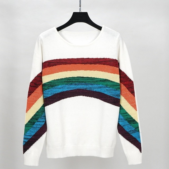 6f8fff6e25 turtleneck sweater and pullover jumper oversize rainbow striped sweater  women autumn winter warm sweater knitted knitwear beige