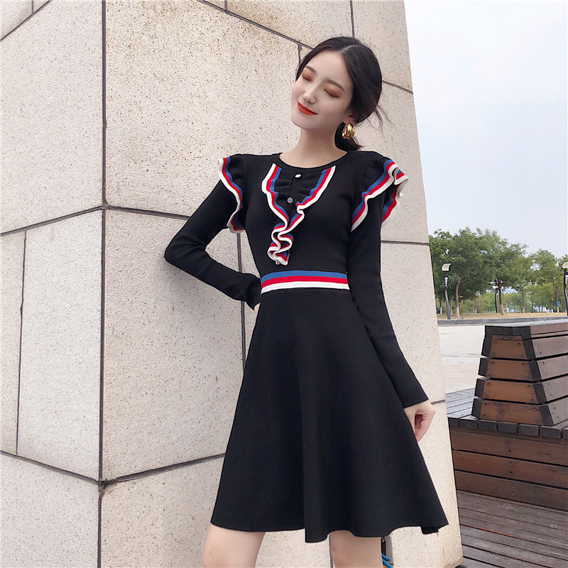 3509556d2a627 Chic 2018 Winter Sweater Dress Women O-neck Long Sleeve A Line Ruffles Knit  Mini Dress Bodycon Female Slim Girl Short Dress
