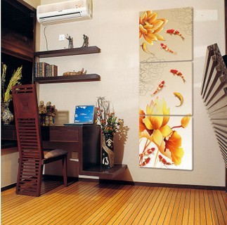 Free Delivery 3 Piece Canvas Wall Art Home Modern Vertical Version Nine  Fishes Painting For Bedroom