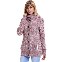 New Style Womens Pure Colour Cardigan Kintted With Button Casual Jacket Nooded Long Sleeves Ladys Coat