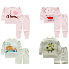 2016 Free ship 0-12M autumn boys girls winter long sleeved cotton underwear the fall pajamas kids baby clothes 18 colors