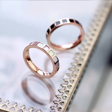 YUNRUO New Arrival Rose Gold Color Natural Pink Shell Rings Titanium Steel Jewelry Woman Fashion Accessories