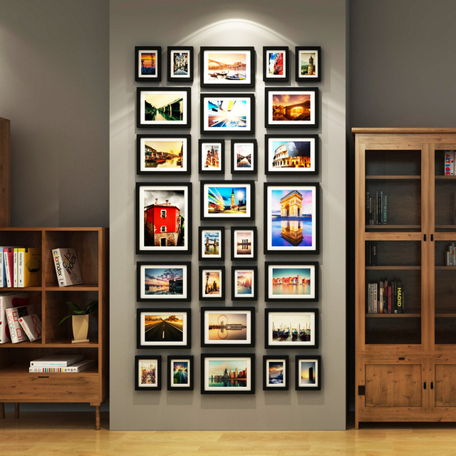 29 Pieces/Set Photo Frame Large Scale Wall Frame Set Picture Frames ...