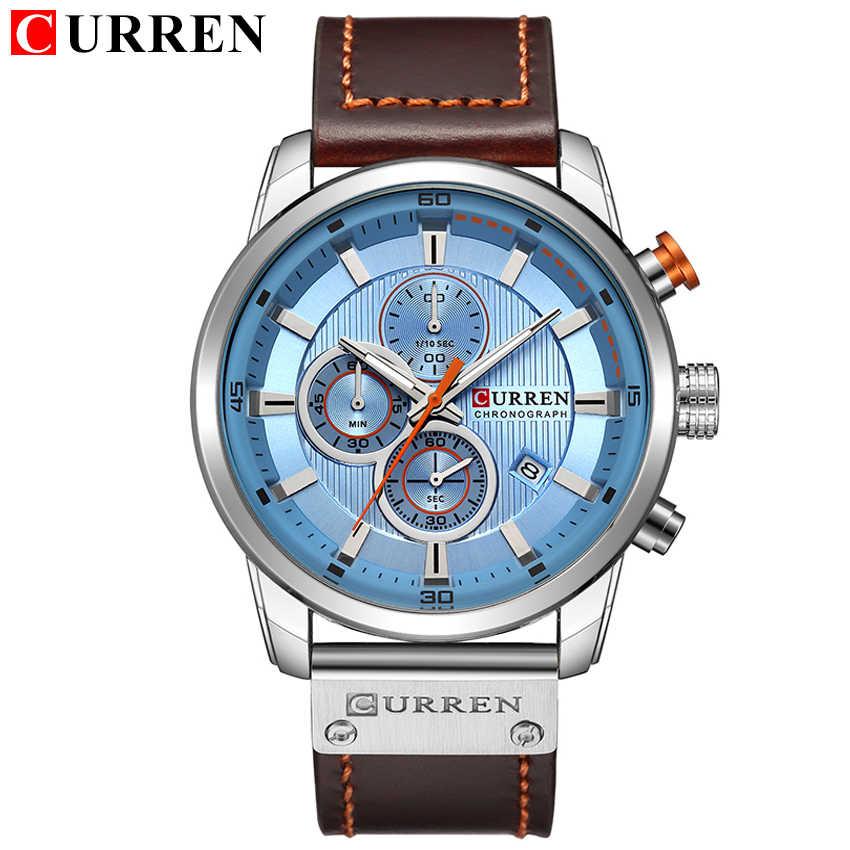 למעלה מותג יוקרה הכרונוגרף קוורץ שעון גברים ספורט שעונים צבאי צבא זכר שעון יד שעון CURREN relogio masculino