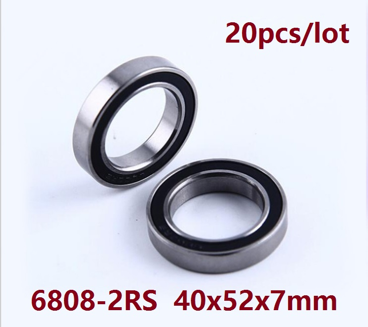 20pcs lot 6808 2RS 6808RS 6808 2RS RS ball bearing 40 52 7 mm Deep Groove