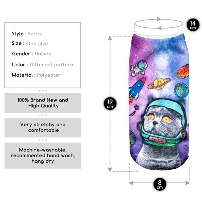 Calcetines Blancos de moda de Verano Fresco Space Cat Patrones ...