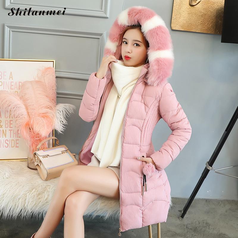 caramel Caldo Femminile Inverno Addensare Il pink Outwear Rosa Donna Formato Cappuccio Soprabito pea Nuovo Green Artificiale Elegante 3xl Parka Causale Pelliccia Più Collo Black Con Di BEqxfxHw