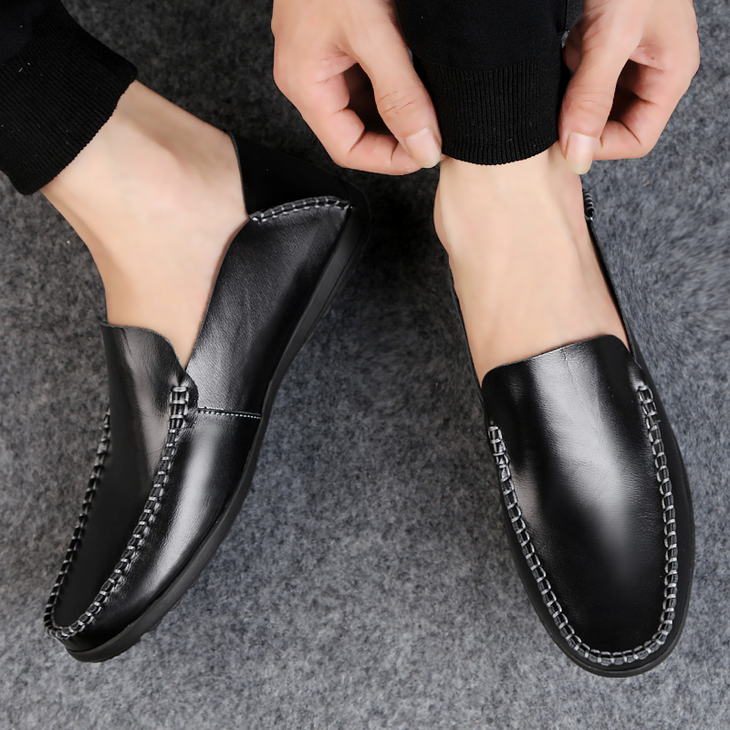 DXKZMCM 2019 Soft Genuine Leather Men Loafers Handmade Casual Shoes Men Moccasins For Men Leather Flat Shoes