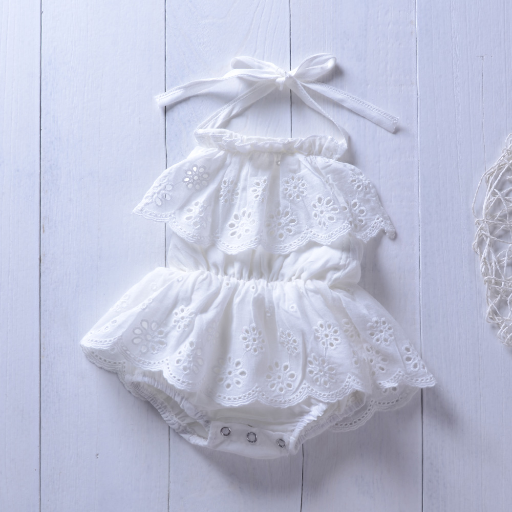 2019 Summer Baby   Romper   Lace Dress White Flower Little Angel Baby Girls Long Sleeve Jumpsuits Baby Clothing Outfits
