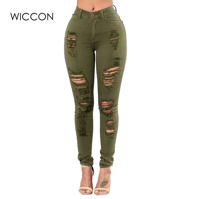 WICCON 2019 New Fashion Plus Size 3XL Ripped   Jeans   Women Skinny Hole Ripped Denim Pants Female Fasion Casual High Waist   Jeans